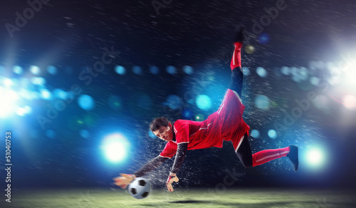 Poster Football Goalkeeper catches the ball