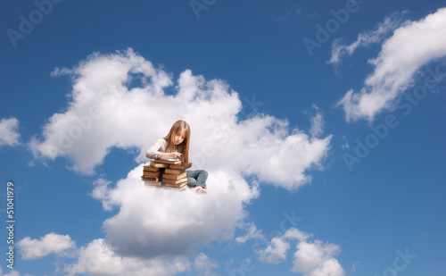 Girl on the cloud Wallpaper Mural