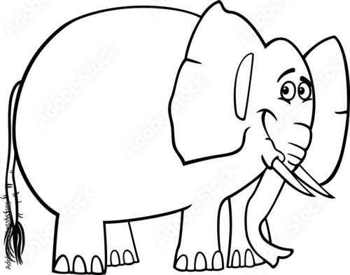 Spoed Foto op Canvas Doe het zelf cute elephant cartoon for coloring book