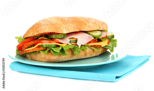 Staande foto Snack Fresh and tasty sandwich with ham and vegetables isolated