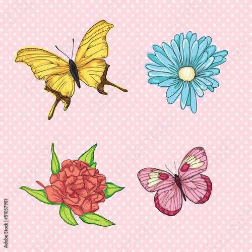 Garden Poster Butterflies Love, cute icons