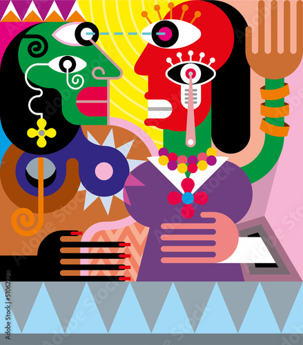 Canvas Prints Abstract Art Woman and man abstract vector illustration