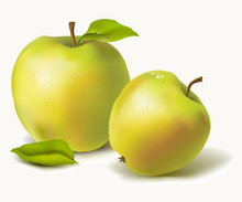 Ripe Apples With Leaves