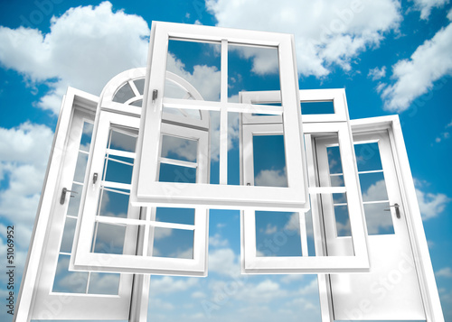 Doors and windows catalogue, sky Canvas Print