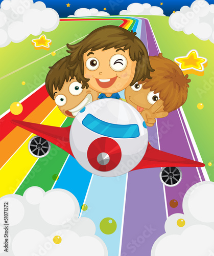 In de dag Regenboog A plane with three playful kids
