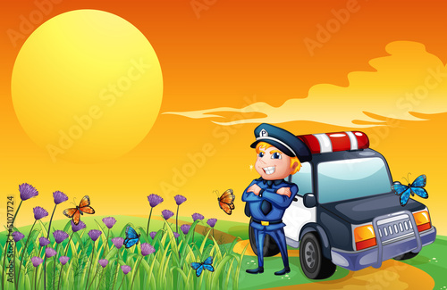 Foto op Plexiglas Vlinders A sunset view with a policeman and a car at the hill