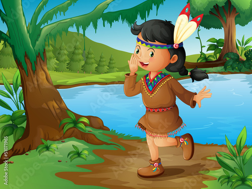 Stickers pour portes Indiens An Indian girl in the forest