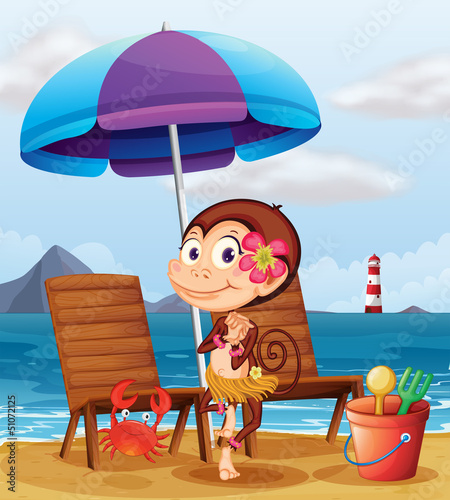 Canvas Prints River, lake A monkey in a hawaiian attire at the beach