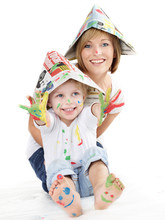Cute Boy And His Mother Have Coloured Hands