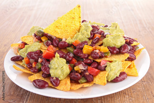 Recess Fitting Appetizer nachos with vegetables