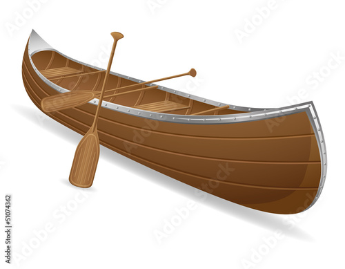 canoe vector illustration Canvas Print