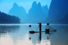Chinese Man Fishing With Cormo...