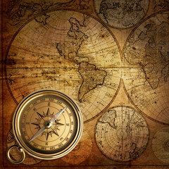 Fototapeta Mapy old compass on vintage map 1746