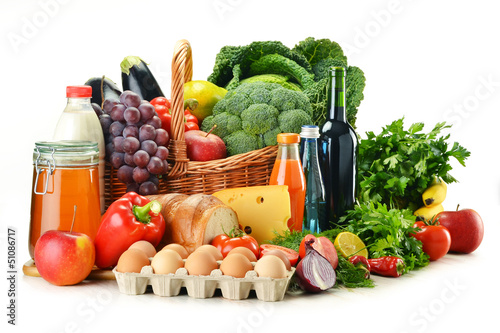 Fototapety, obrazy: Grocery products including vegetables, fruits, dairy and drinks