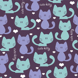 Cute blue seamless pattern with cats