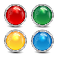 Set Of The Varicoloured Buttons Is In A Silvery Frame