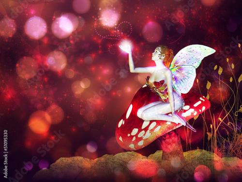 La pose en embrasure Fées, elfes Magic mushroom fairy