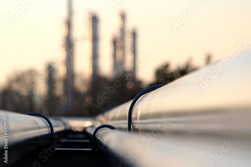 Fototapeta pipe line conection in oil refinery obraz