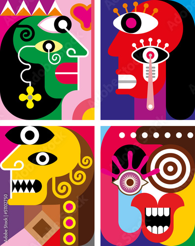 Canvas Prints Abstract Art Four Faces - abstract vector illustration
