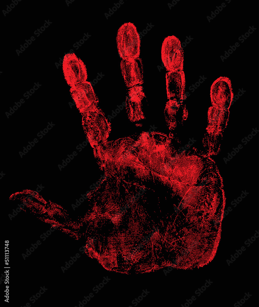 Fototapeta hand print isolated on black illustration