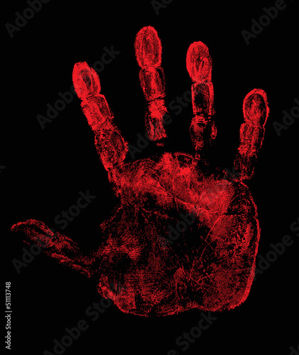 Fototapety, obrazy: hand print isolated on black illustration