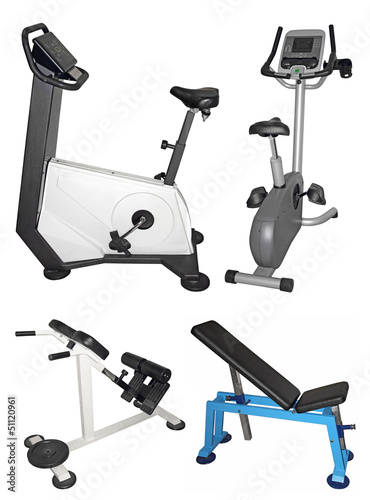 Foto op Plexiglas Fitness Stationary bike and bench