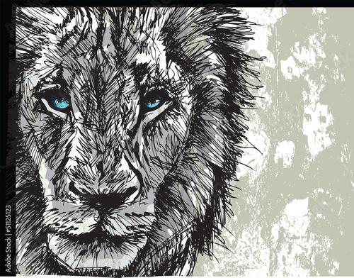 Photo sur Toile Croquis dessinés à la main des animaux Sketch of a big male African lion