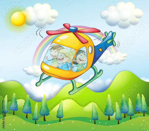 In de dag Regenboog A helicopter with kids