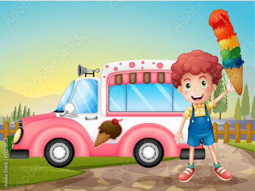 Poster Cars A boy with icecream and the pink car