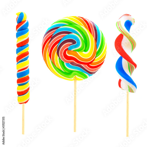Three unique lollipop candies isolated on white Poster