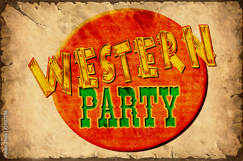 Tuinposter Vintage Poster Retroplakat - Western Party