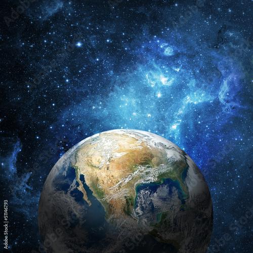 plakat Ziemia i galaxy