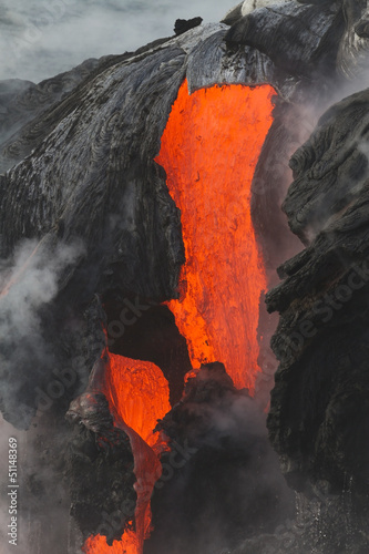Deurstickers Vulkaan Lava flow