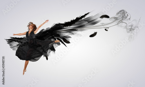 Küchenrückwand aus Glas mit Foto Tanzschule Woman floating on dark wings