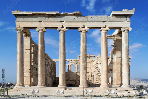 Backside of the Erechtheion temple with ionic columns in Acropol Fototapete