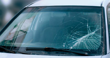 Accident Cars Broken Windshield Close Up Background