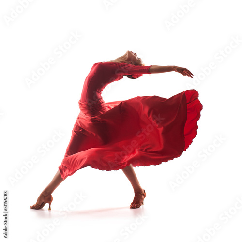 Photo sur Toile Carnaval woman dancer wearing red dress