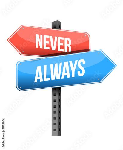 Photo never, always road sign illustration design