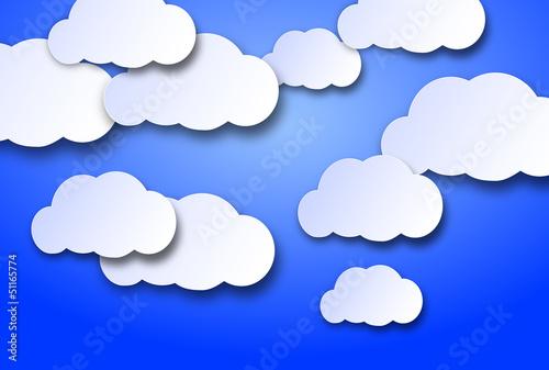 Foto op Canvas Hemel nuvolette di cartone su uno sfondo azzurro cielo