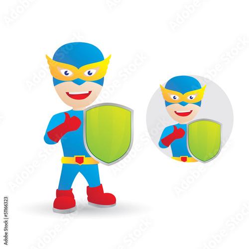 Poster Superheroes shield hero cartoon vector