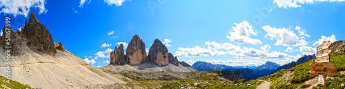Tre Cime di Lavaredo - Dolomite - Italy, panorama Fototapet