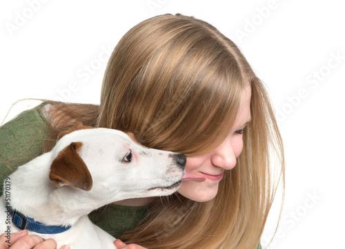 Hund Leckt Mädchen