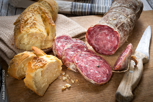 Photo  Bread and salami