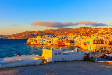 Greece Mykonos, Sunset on Little venice
