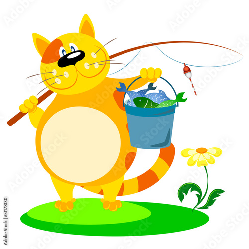 Printed kitchen splashbacks Cats cat with a fishing rod and fish