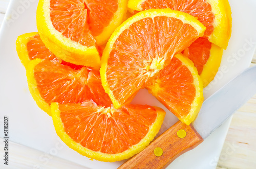 Aluminium Prints Slices of fruit orange