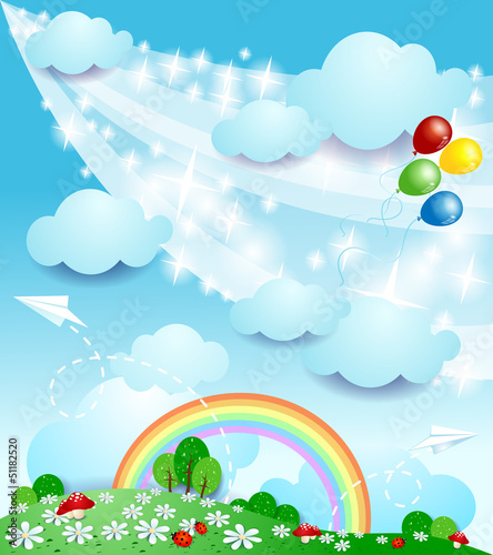 Door stickers Magic world Spring landscape, fantasy illustration