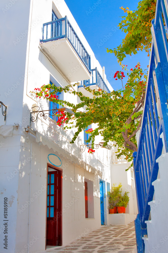 Fototapety, obrazy: Greece, narrow streets view in Mykonos capitol