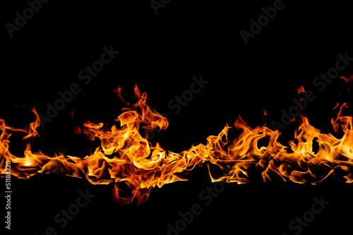 Fotobehang Vuur Blazing flames on black background