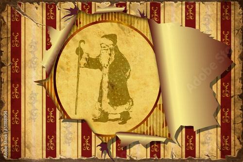 Foto op Plexiglas Vintage Poster 3D Aufgerissene Tapete - Weihnachten